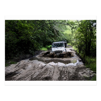 Wooded Jeep Postcard