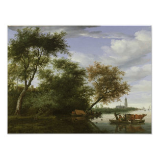 Wooded river landscape poster