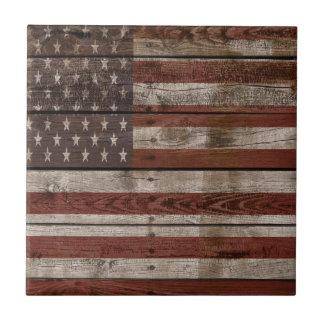 Wooden American Flag Ceramic Tile