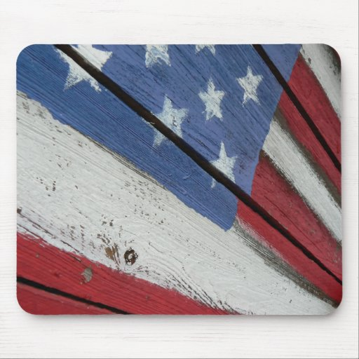 Wooden American Flag Mouse Pad
