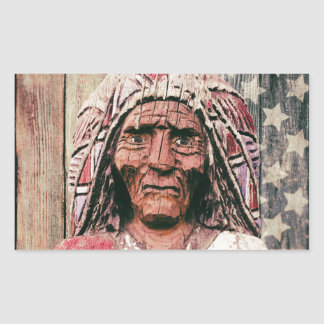 Wooden Antique Cigar Store Indian Rectangular Sticker