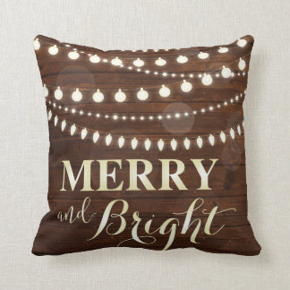 Wooden Background Decorative Lights Christmas Cushion
