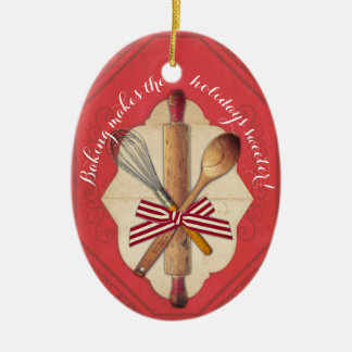 Wooden baking utensils bow Christmas ornament