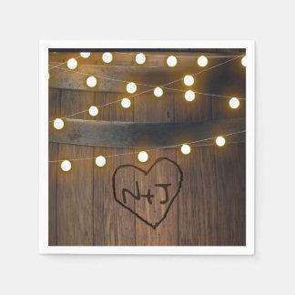 Wooden Barrel Carved Heart Lights Rustic Wedding Paper Napkin