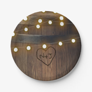 Wooden Barrel Carved Heart Lights Rustic Wedding Paper Plate