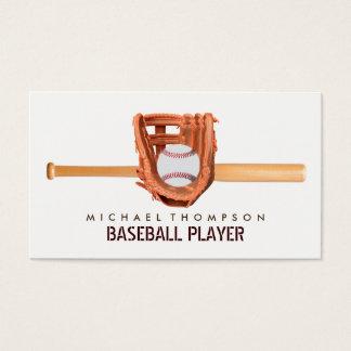Wooden Baseball Bat, Ball and Glove, Baseball Business Card