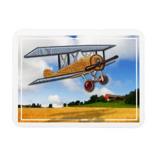 Wooden Biplane Over Farm Fields Magnet