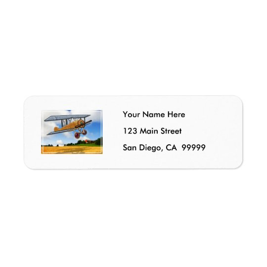 Wooden Biplane Over Farm Fields Return Address Label
