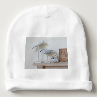 Wooden birds and birch sheep baby beanie