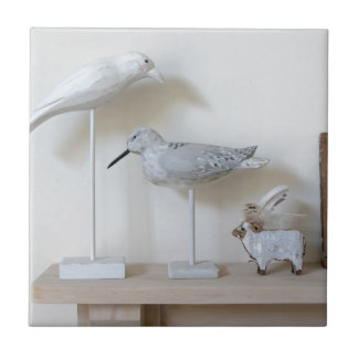 Wooden birds and birch sheep ceramic tile