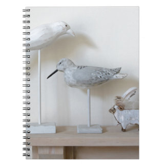 Wooden birds and birch sheep spiral notebook