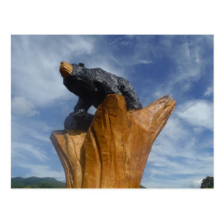 Wooden Black / Brown bear with blue sky Postcard