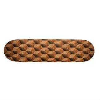 Wooden Block Pattern - Retro Skate Board Deck