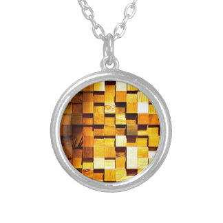 Wooden Blocks Pattern Silver Plated Necklace