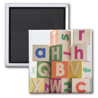 Wooden blocks square magnet