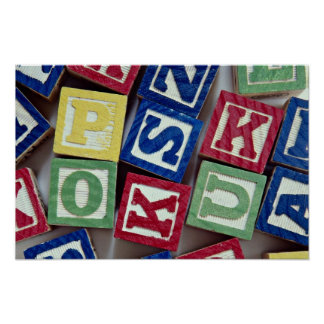 Wooden blocks with alphabets for kids posters