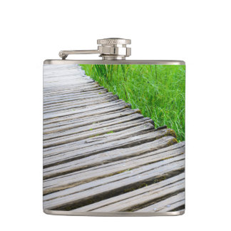 Wooden Boardwalk Hiking Trail Hip Flask