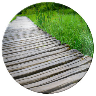 Wooden Boardwalk Hiking Trail Plate