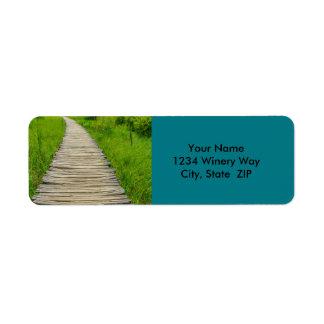 Wooden Boardwalk Hiking Trail Return Address Label