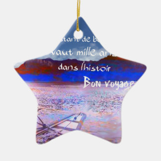 Wooden boat with message. ceramic ornament