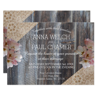 Wooden Bohemian Floral Pallet Wedding Card