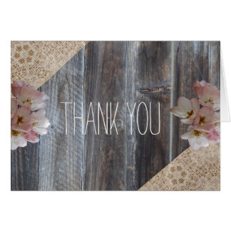 Wooden Bohemian Floral Thank You Card