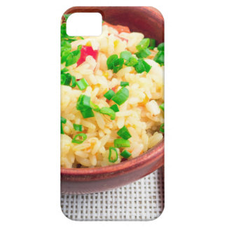 Wooden bowl of cooked rice and leek barely there iPhone 5 case