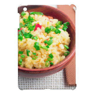 Wooden bowl of cooked rice and leek case for the iPad mini