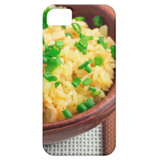 Wooden bowl of cooked rice and vegetables iPhone 5 cover