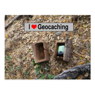 Wooden box hide: Geocaching Postcard