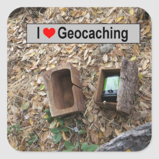 Wooden box hide: Geocaching Square Sticker