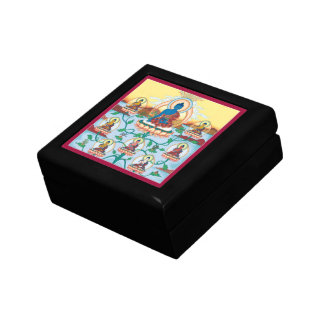 WOODEN BOX WITH TILE- 8 Medicine Buddhas - Healing Small Square Gift Box