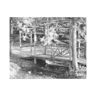 Wooden bridge in black and white canvas prints