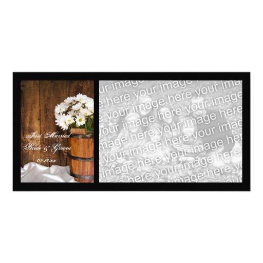 Wooden Bucket and Daisies Country Just Married Personalized Photo Card
