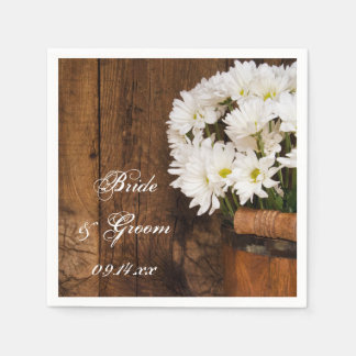 Wooden Bucket and White Daisies Country Wedding Paper Napkin