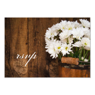 Wooden Bucket of Daisies Country Wedding RSVP Card