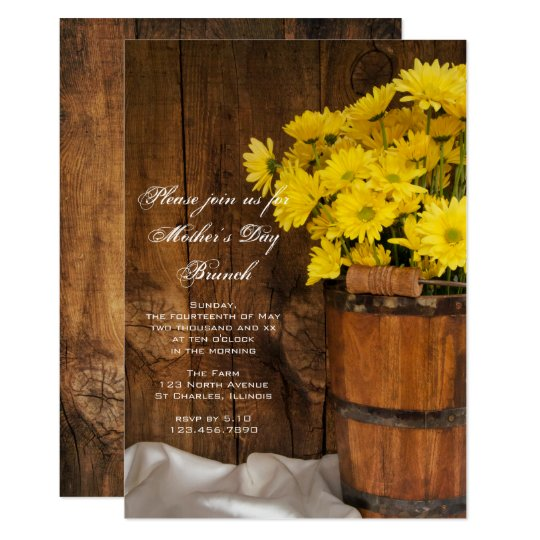 Wooden Bucket Yellow Daisies Mother's Day Brunch Card