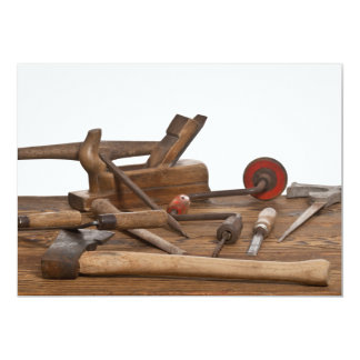 Wooden Carpenter Tools 13 Cm X 18 Cm Invitation Card