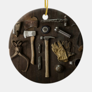 wooden carpentry handyman tools collection ceramic ornament