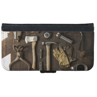 wooden carpentry handyman tools collection iPhone 6 wallet case