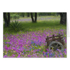 Wooden Cart in field of Phlox, Blue Bonnets Card
