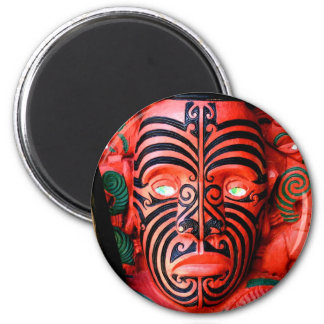 Wooden Carving of a Maori Warrior, New Zealand Magnet
