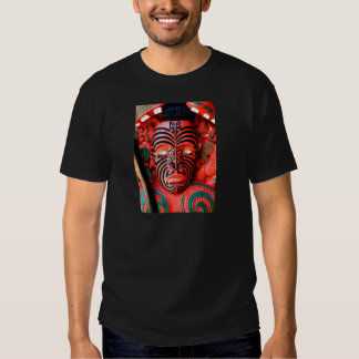 Wooden Carving of a Maori Warrior, New Zealand Tee Shirts