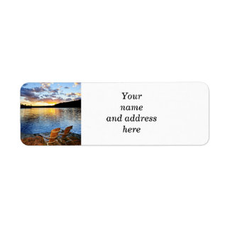 Wooden chairs at sunset on beach return address label
