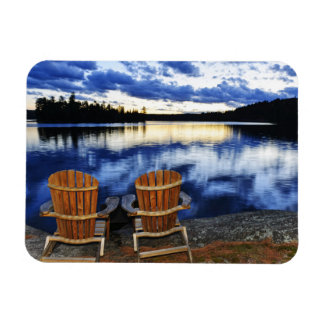 Wooden Chairs At Sunset On Lake Shore Rectangular Magnets
