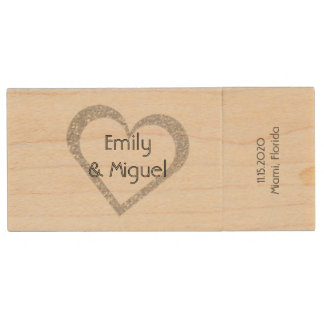 Wooden Chalkboard Heart Wedding USB Photo Storage Wood USB 2.0 Flash Drive