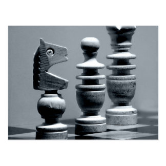 Wooden Chess Board Game Pieces Figures Postcard