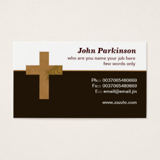 wooden christian cross business card