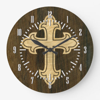 Wooden Christian Cross Fleury Maple on Rosewood Large Clock