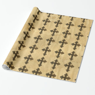 Wooden Christian Cross Fleury Rosewood on Maple Wrapping Paper